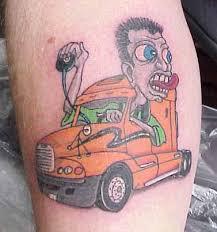 colored ink truck and driver tattoo tattooshunt com