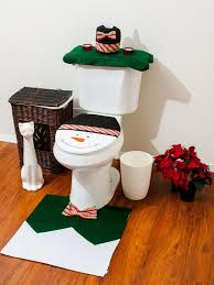 christmas bathroom toilet seat cover and rug set green snowman