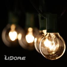 lidore g40 globe bulb patio string light set with clear bulbs and