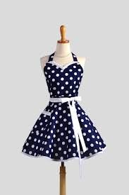 sweetheart retro apron womens apron navy blue and white
