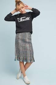 pencil skirt fringed tweed pencil skirt anthropologie