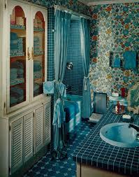 1968 vintage home bathroom remodeling blue floral bathroom with