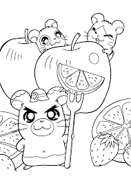 hamtaro anime coloring pages for kids printable free coloring