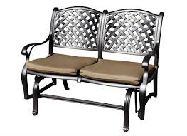 cast aluminum outdoor glider bench with bronze powder coating
