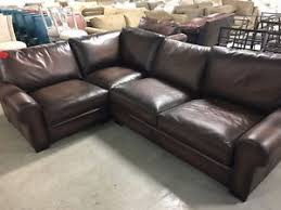 pottery barn turner leather sofa sectional 3 pc burnt walnut love