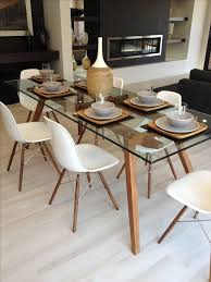 glass table top ideas wood slab dining table designs glass metal modern room within and