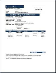 monthly billing invoice statement template word u0026 excel templates