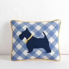 scottie clubhouse needlepoint pillow pbteen