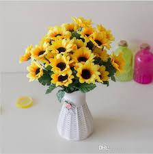 sunflowers decorations home 2018 vivid bouquet sweet artificial sunflowers 1 bunch 7 heads