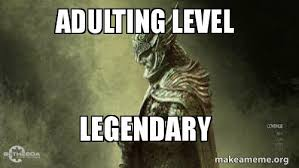 Level Meme - adulting level legendary make a meme