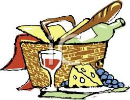 Wine Picnic Baskets Picnic Basket With Bread Cheese And Wine Royalty Free Clipart
