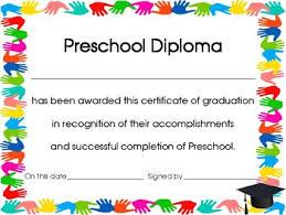 preschool diploma of the year preschool handprint diploma certificate or award