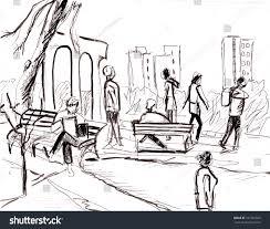 instant sketch people park take rest stock illustration 341764685