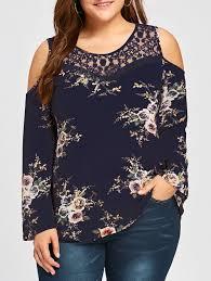 plus size blouse 2018 plus size lace panel cold shoulder floral blouse cadetblue xl