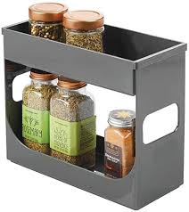 kitchen cabinet storage containers mdesign plastic spice and food kitchen cabinet storage organizer 2 tier caddy rack with removable top tray compact and portable for pantry