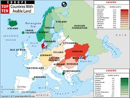 a map of europe with countries map of european countries with maximum and minimum arable land