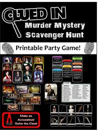 ideas for a halloween party games clued in murder mystery scavenger hunt printable party game