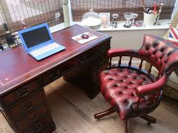 Leather Captains Chairs Antique Style Matching Leather Top Desk U0026 Chesterfield Captain