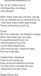 1940s top songs lyrics for pal of my cradle days