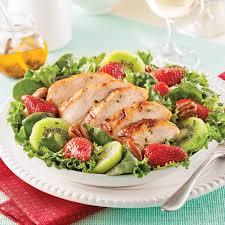cuisine aux fraises salade repas au poulet grillé fraises et kiwis recettes