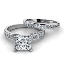 princess cut wedding set princess cut channel set engagement ring wedding band bridal set