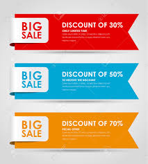 set of colored horizontal banners for sale with a ribbon elements