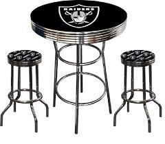 bar stool table set of 2 oakland raiders logo nfl football chrome bar pub table set with 2
