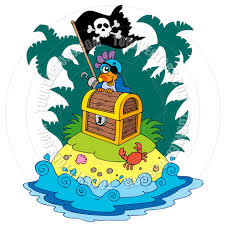 cartoon treasure island with pirate parrot by clairev toon