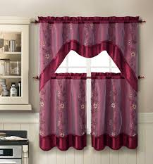 Kitchen Curtains Sets Amazon Com Daphne Embroidered Kitchen Curtain Set By Victoria