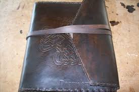 personalized leather photo album buy a made custom leather photo album with celtic design