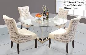 round dining table with mirror base