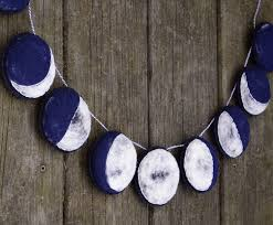 handmade felt garland the phases of the moon needlefelted