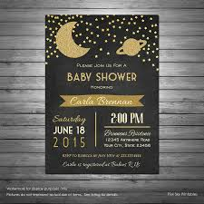 galaxy baby shower invitations moon and stars space