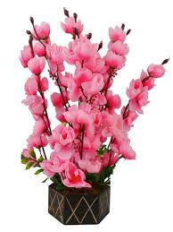 artificial flower beautiful pink artificial orchid flowers with wooden pot for home