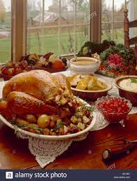 thanksgiving table with turkey thanksgiving table setting turkey dinner stock photo 792913 alamy