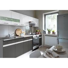 cuisine gris et blanc junona cuisine complète 2m40 avec éclairage led et plan de travail