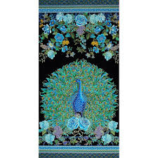 timeless treasures enchanted plume metallic 24 peacock panel