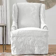 Wing Chair Slipcover Pattern Decorating Antique Wing Chair With Stretch Slipcover Exquisite