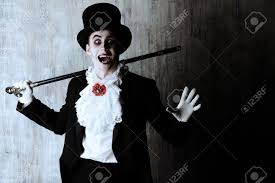 Dracula Halloween Costume Handsome Male Vampire Tail Coat Hat Halloween