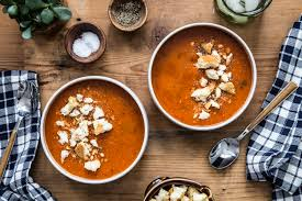 roasted tomato soup with garlic croutons le creuset giveaway