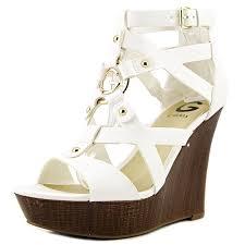 amazon com g by guess women u0027s dodge white sandal platforms