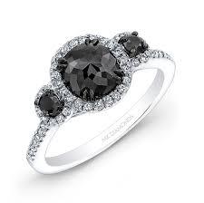 black sapphire engagement rings 14k white and black gold three black