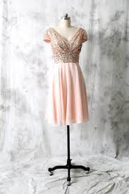 cocktail dress rose gold sequin chiffon bridesmaid dress cap
