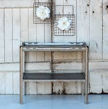 metallic silver furniture antiquing process