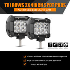 led security light bar pair 144w 4 inch led work light bar pod work flood beam offroad fog