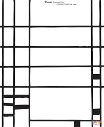 broadway boogie woogie by piet mondrian coloring page free