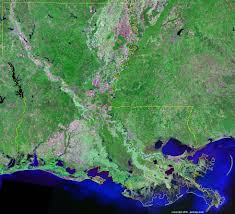 Louisiana Mississippi Map by Louisiana Satellite Images Landsat Color Image