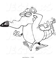 vector of a cartoon rat walking coloring page outline by