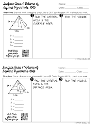 surface area and volume of pyramids unit mrs newell u0027s math