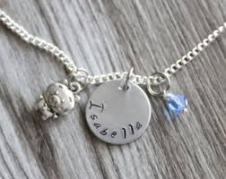 Name And Birthstone Necklace Pig Necklace Etsy